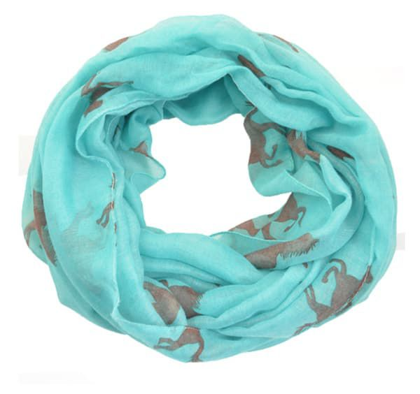 Turquoise Horse print infinity scarf