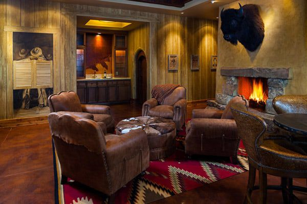 western living room and fireplaces