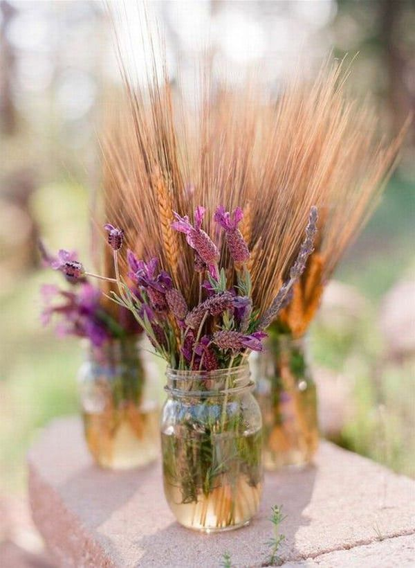 Wheat-and-Flowers-in-Mason-Jars