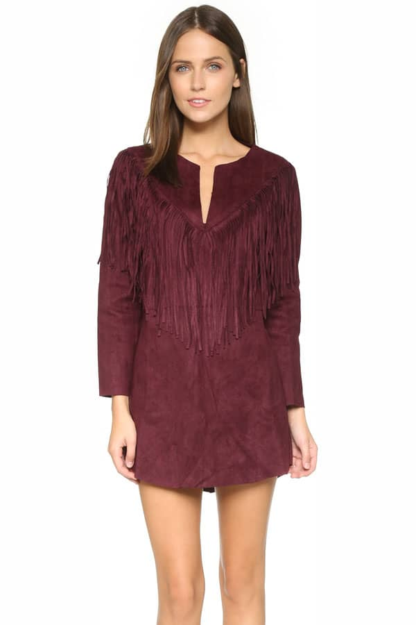 Cowgirl - wine fringe dress