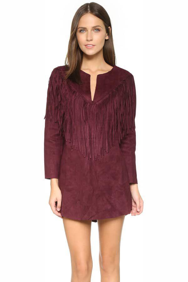 Cowgirl - wine fringe dress