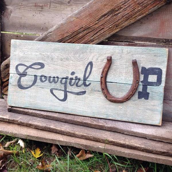 Cowgirl Up Horseshoe Sign