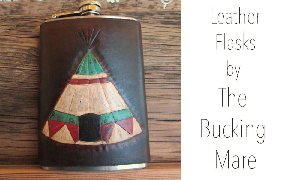 Leather flasks by The Bucking Mare