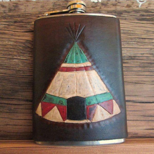 Leather teepee flask
