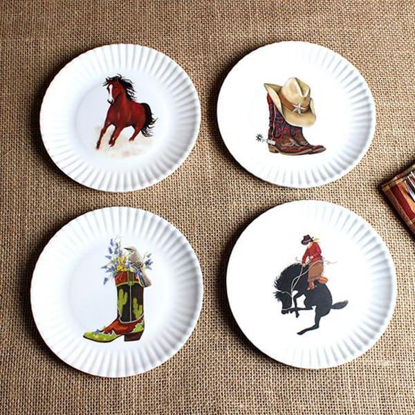 Western Paper Look Appetizer Plate Set