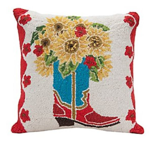 Cowboy-boot-and-flowers-pillow