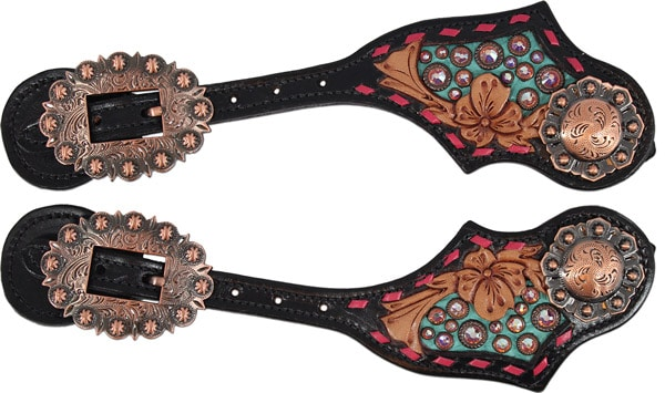 Pink-and-copper-spur-straps-Heritage-Brand