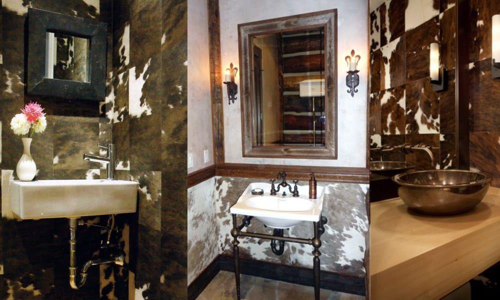 Cowhide bathroom walls