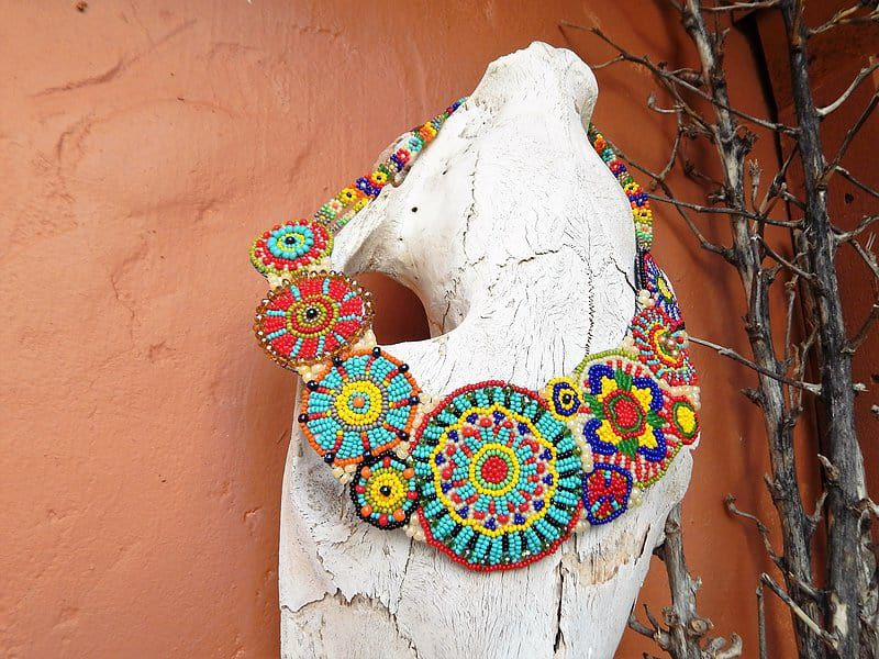 Colorful Beaded Collar Necklace by Mad Cow Company