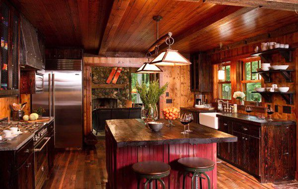 Rustic red kitchens