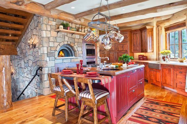 Rustic-kitchen-with-red-island