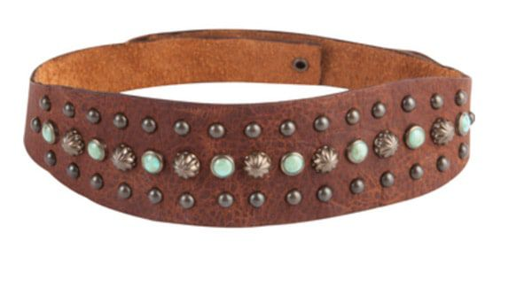 Turquoise-and-leather-headband