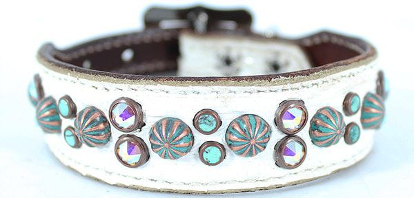 white-and-turquoise-Heritage-Brand-dog-collar