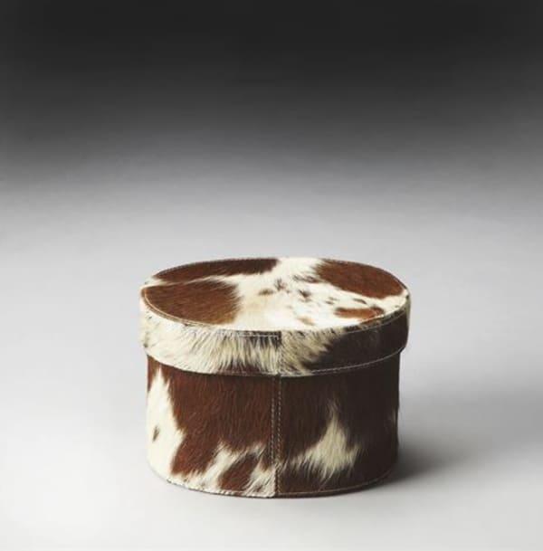 Round-brown-cowhide-box