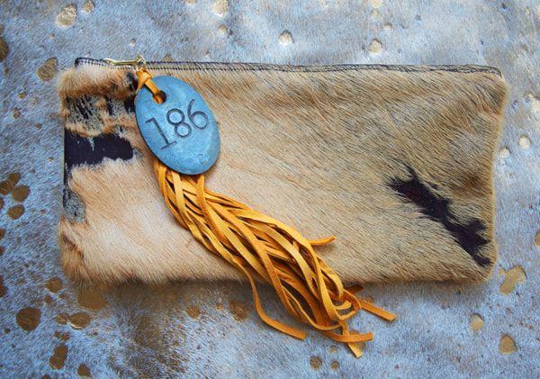 Acid Washed Cowhide Fringe Bag