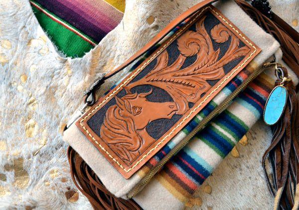 Tooled Leather Serape Clutch Purse