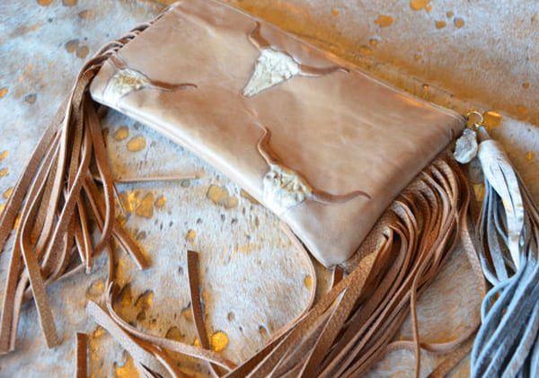 longhorn leather clutch purse