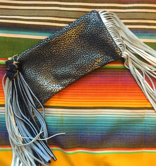 metallic cowhide clutch purse