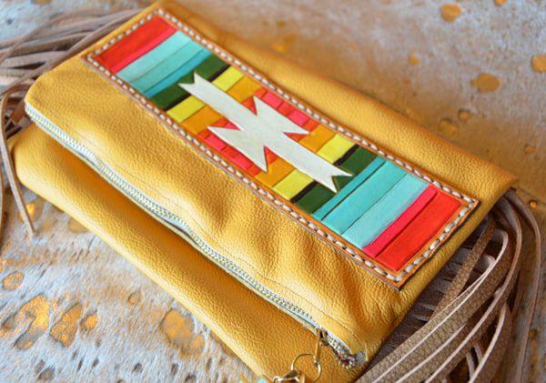 southwestern rainbow leather clutch