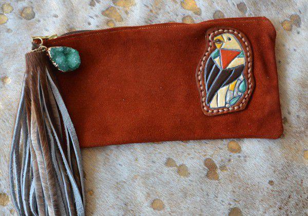 tooled leather eagle clutch