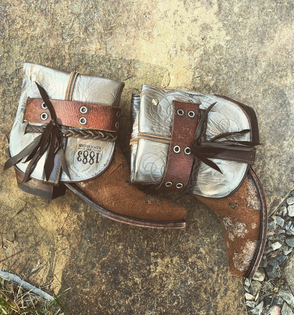 Acid Washed Cowhide Boots