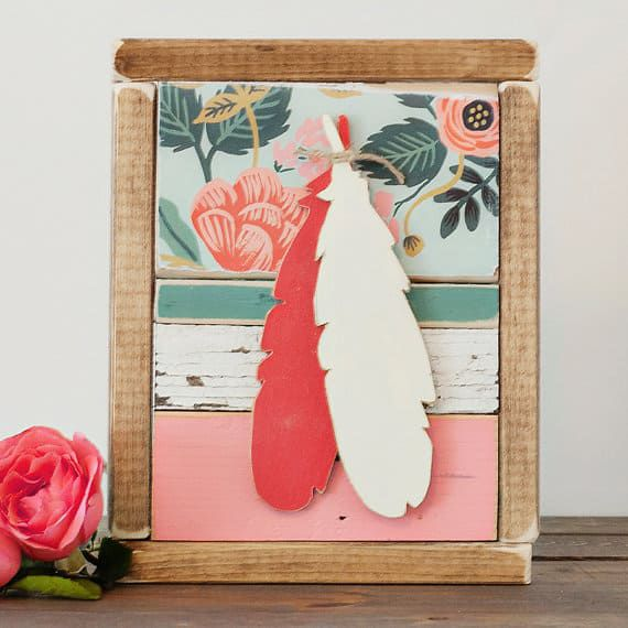 feathers wood wall hanging