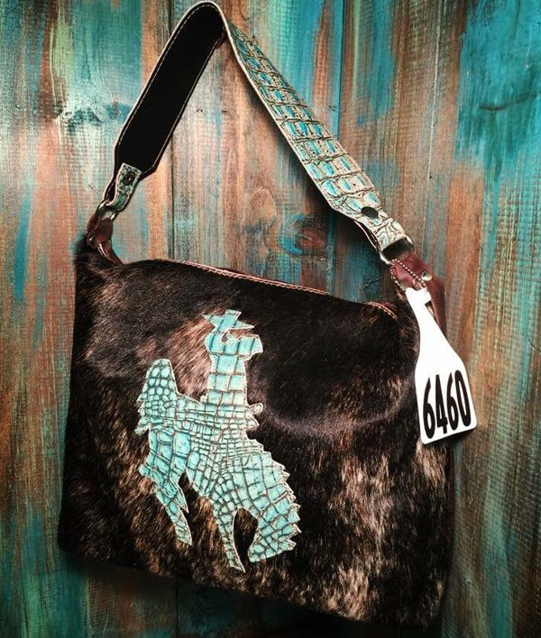 Cowgirl - Cowhide Bag with Turquoise Bronco