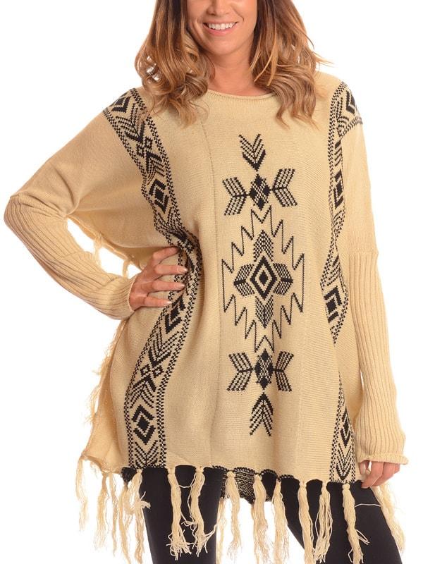 Geometric Fringe Sweater