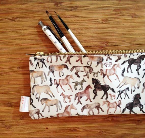 Horse print pencil case