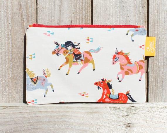 fabric horse pencil case