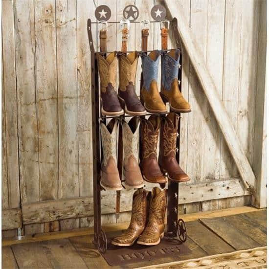 rustic boot rack holder