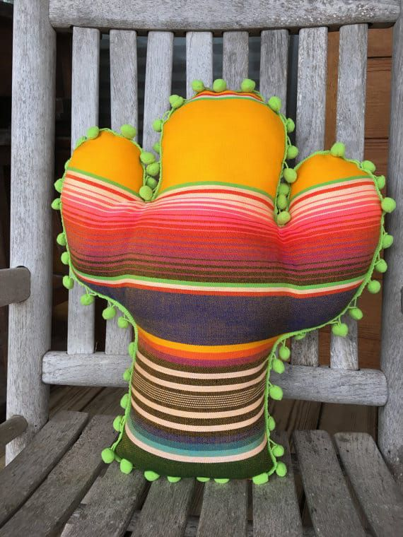 serape cactus pillow
