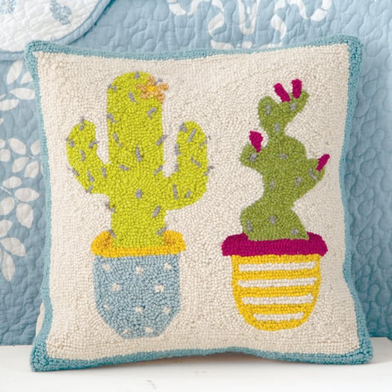 boho hooked cactus pillow