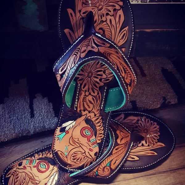 tooled leather flip flops cowgirl magazine