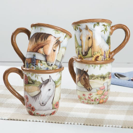 ... dinnerware for entertaining in the months ahead. The Blooms and Horses collection is so pretty! Lots of flowers and pretty ponies decorate plates mugs ... & Blooms \u0026 Horses Kitchen Collection - Cowgirl Magazine