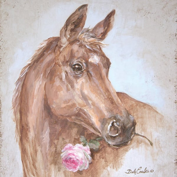 French-Farmhouse-Series-Horse-with-Rose-Painting-Print-on-Wrapped-Canvas