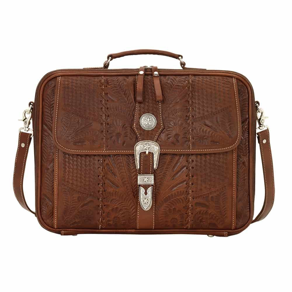 tooled leather western briefcase american west double j cowgirl magazine