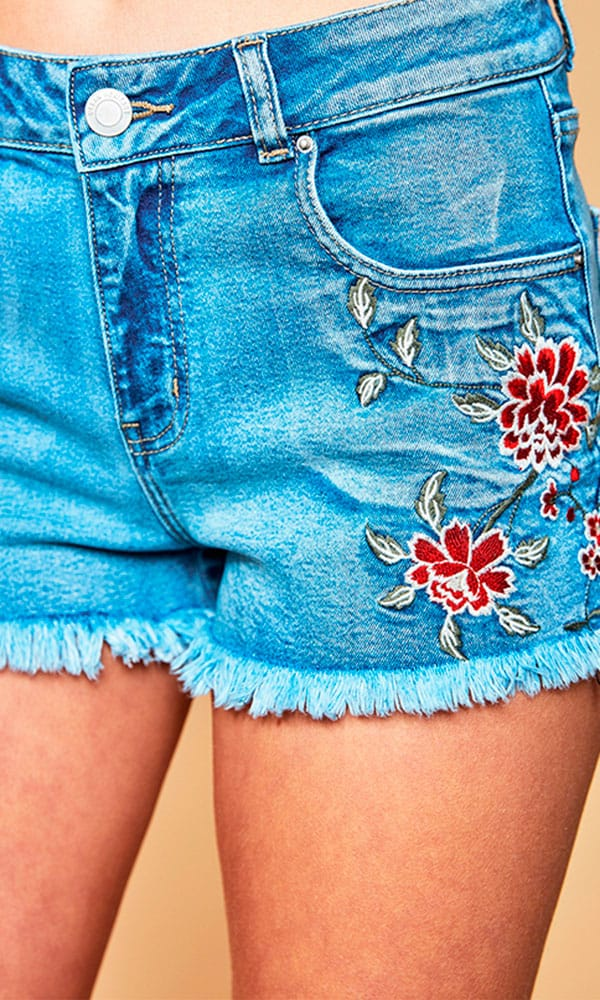 Embroidered Denim Shorts Cowgirl Magazine