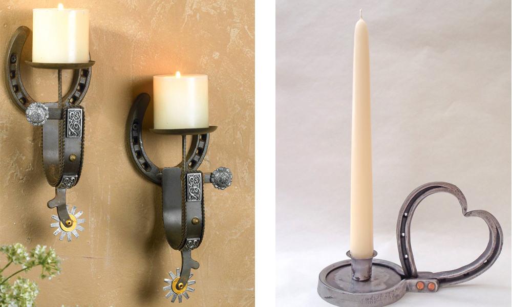 horseshoe candle holders