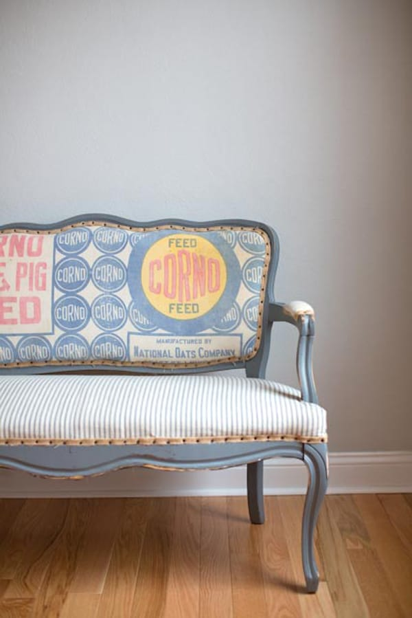 Vintage-Flour-Sack-Upholstered-Bench
