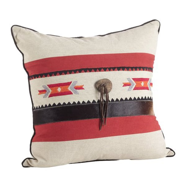 Cowhide+Suede+Trim+Southwestern+Embroidered+Design+Down+Filled+Throw+Pillow