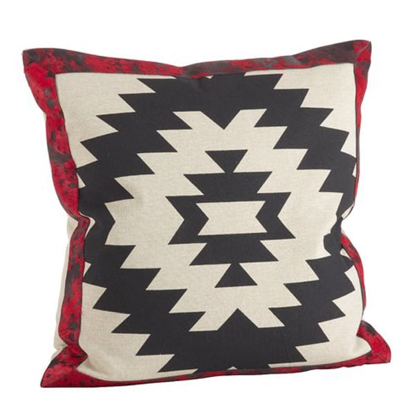 Cowhide+Trim+Southwestern+Pattern+Down+Filled+Cotton-Leather+Throw+Pillow