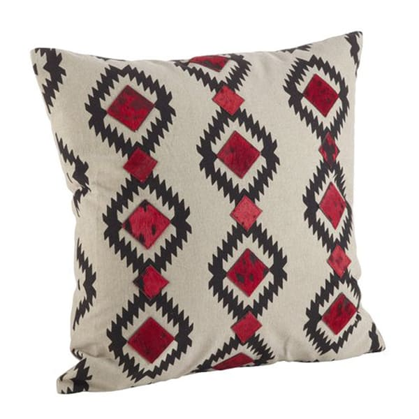 Navajo+Desert+Pattern+Cowhide+Trim+Down+Filled+Cotton-Leather+Throw+Pillow