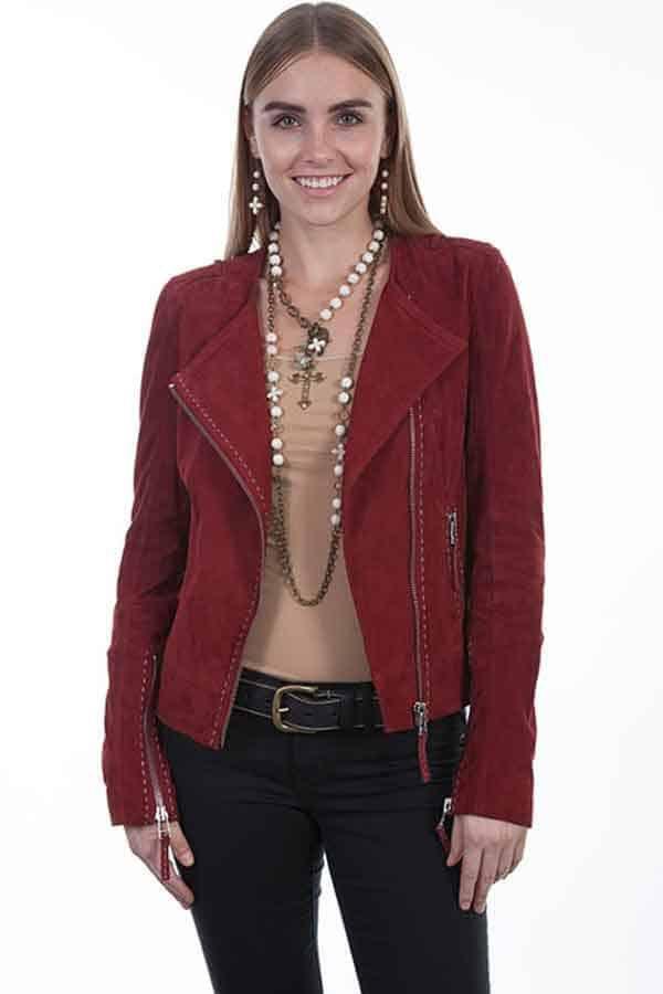 Scully leather jacket jackets skirt skirts fringe suede sueded vest vests turquoise red black Carmel western fashion Denver market cowgirl magazine