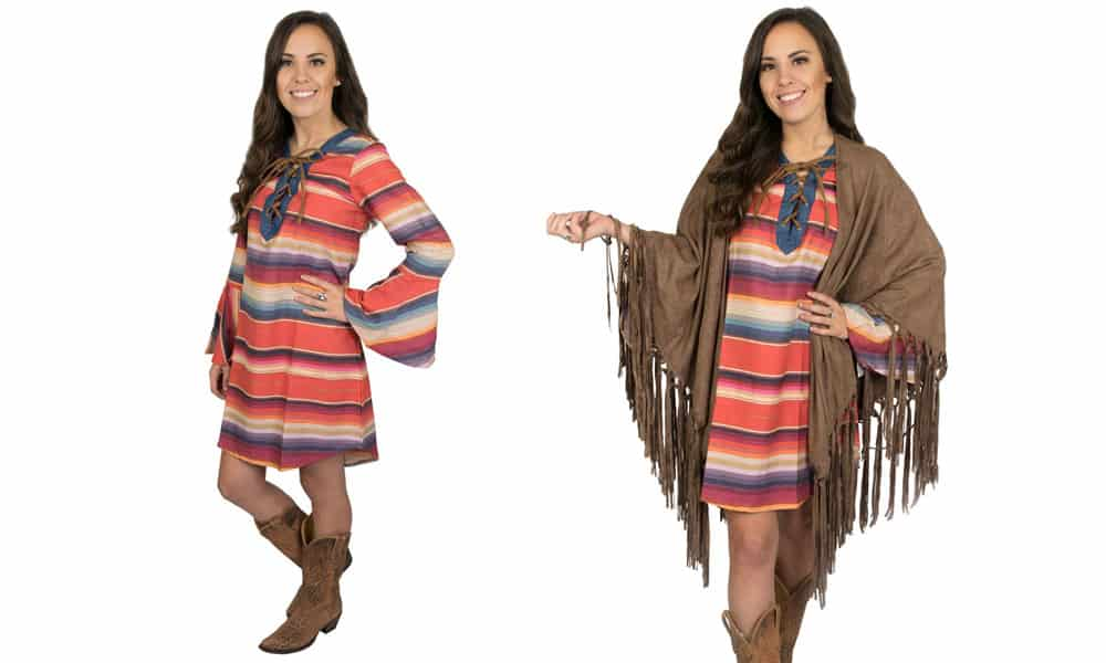 Tasha polizzi palozzo serape shirtdress shirt dress stripes tuxedo shirt plaid flannel boot boots fringe red turquoise yellow orange multi multicolor multicolored western fashion Las Vegas fashion clothing clothes Teskey's teskeys Teskey Weatherford texas cowgirl magazine