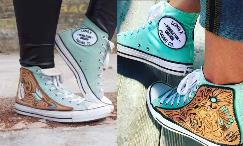 custom converse long x trading co converse cowgirl magazine tooled leather custom shoes tooling