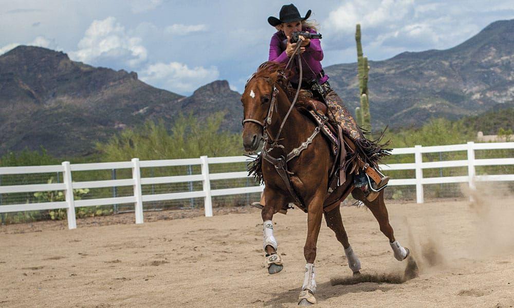 Cowboy mounted Shooting Kenda Lenseigne Horse Tack Cowgirl Magazine