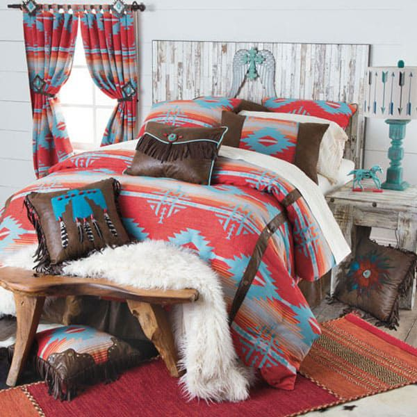 red branch bedding collection aztec bedding curtain curtains shower curtain pillow fringe pillows throw pillow throw pillows thunderbird bedroom comforter cowgirl magazine
