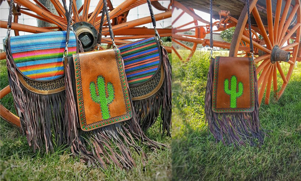 krazy girl crossbody cross body crossbodies purse purses crazy girl crazy girl tack krazy girl tack western fashion couture fringe cactus cacti serape cowgirl magazine