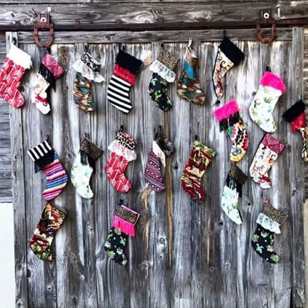 vandi vann vjv designs Christmas sassy stockings cheetah leopard fringe holiday holidays mantle decorations winter cowgirl magazine